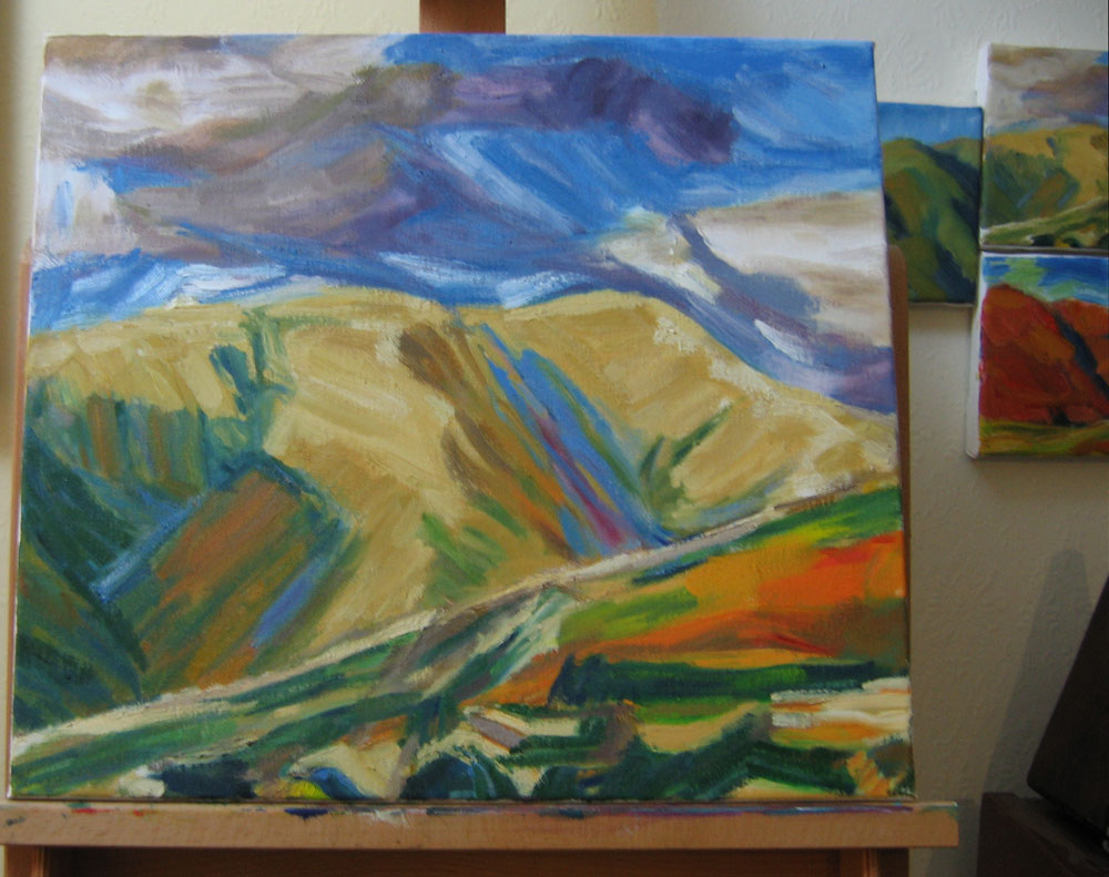 oil painting of Crosdale, work in progress