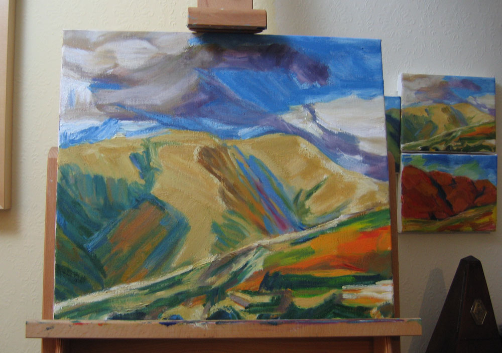 work in progress, Crosdale painting, oil on canvas