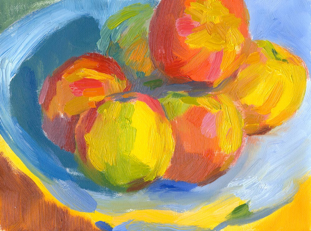 "still life oil painting, apples, 6""x8"""