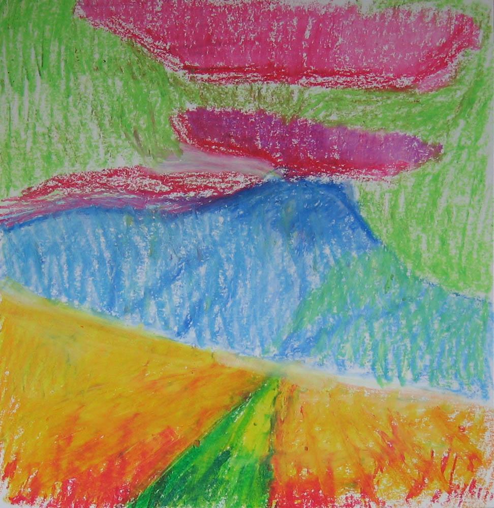 plein air oil pastel of hill
