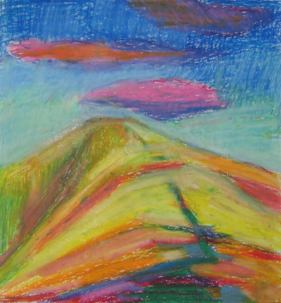 experimental oil pastel study, Arant Haw