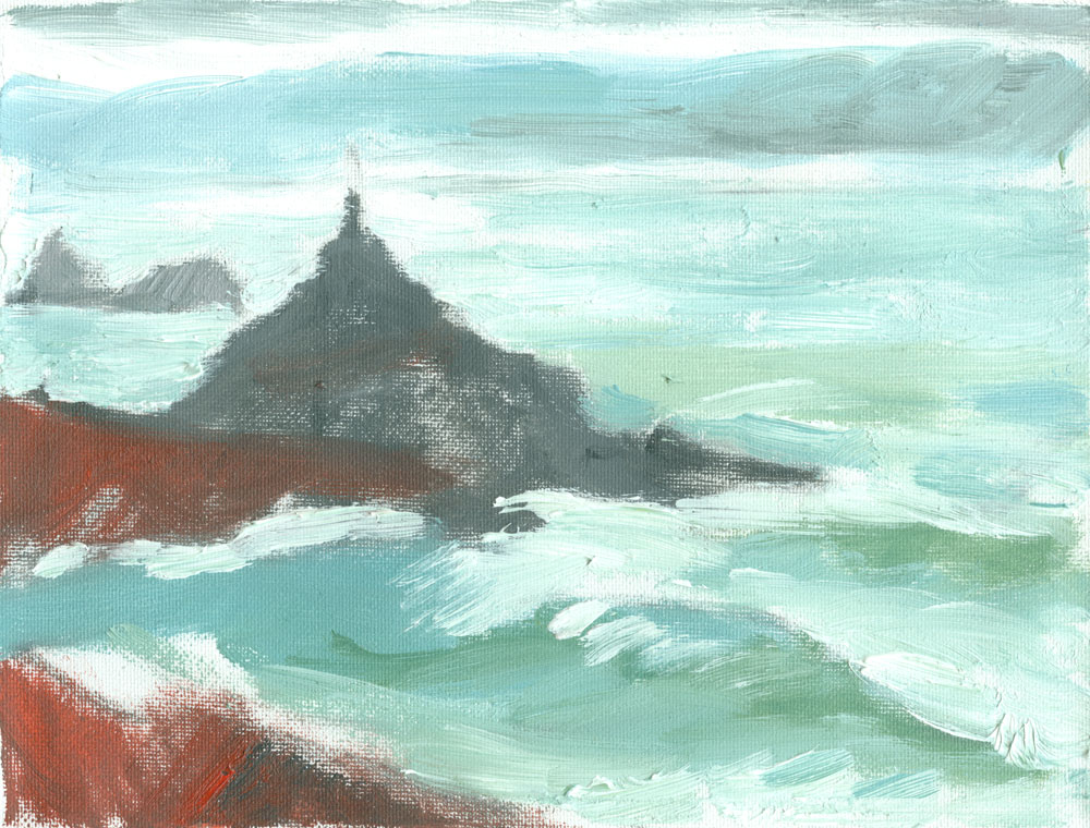 Cape Cornwall plein air sketch in oils on canvas, 6x8 inches
