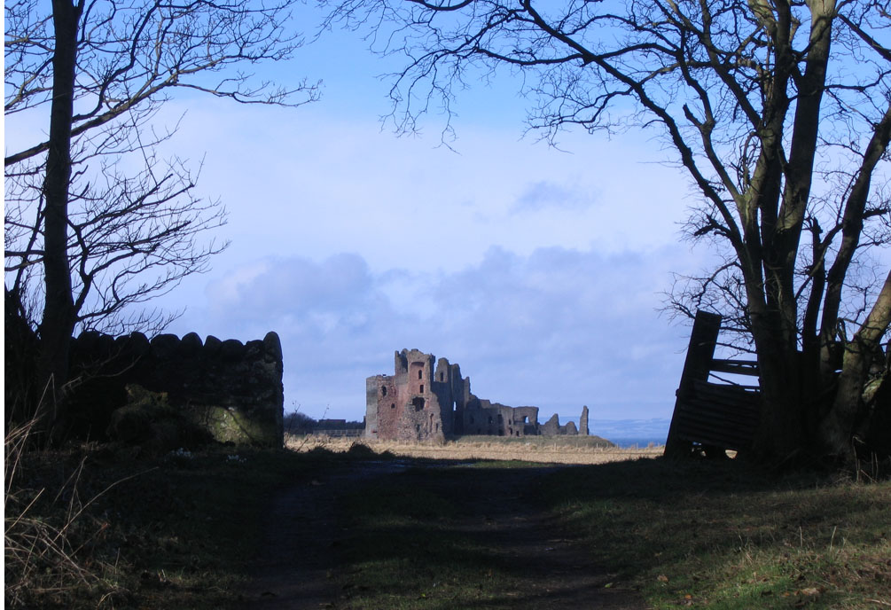 ghostly view of Tantallon castle