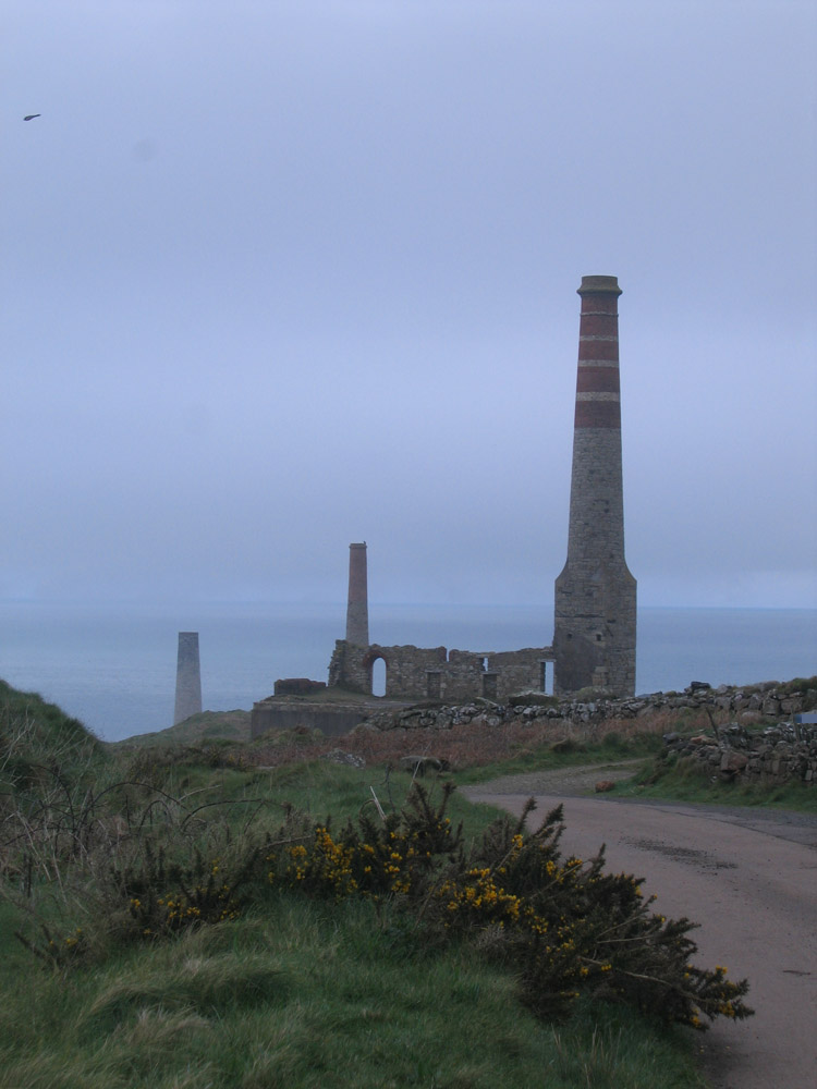 chimneys on the cliffs, Cornwall