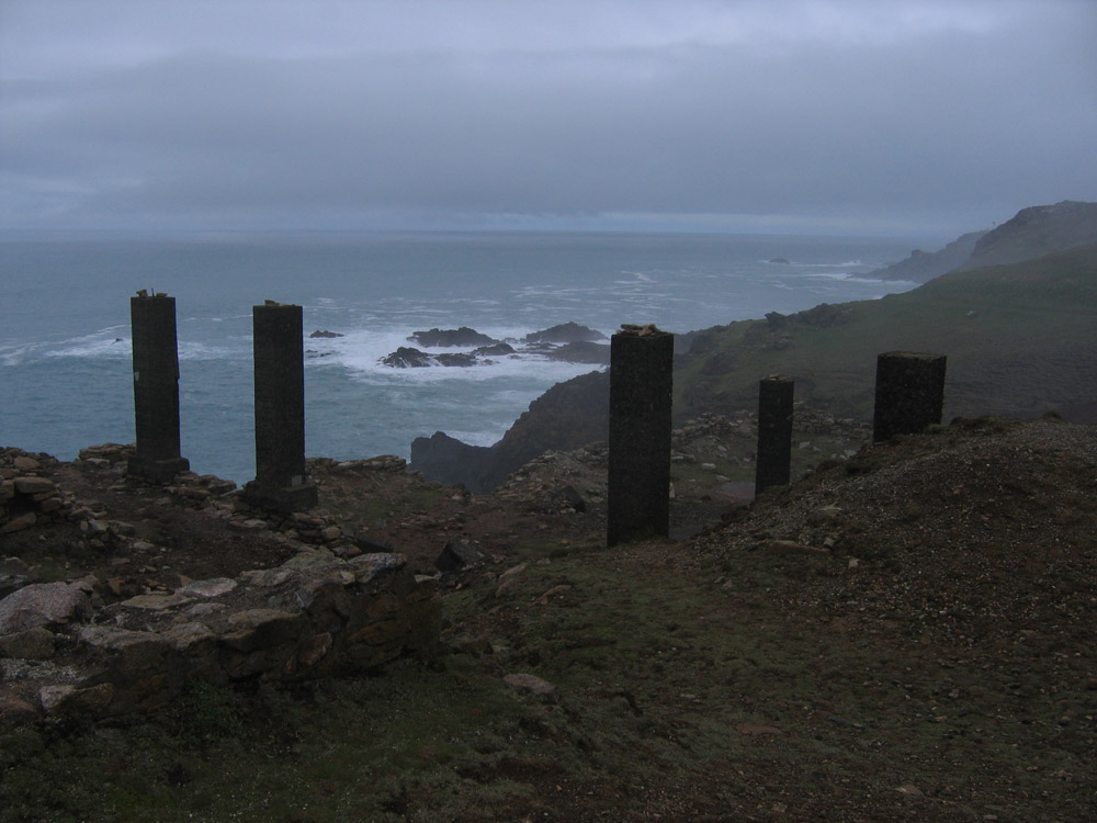 Cornwall, columns on a cliff top