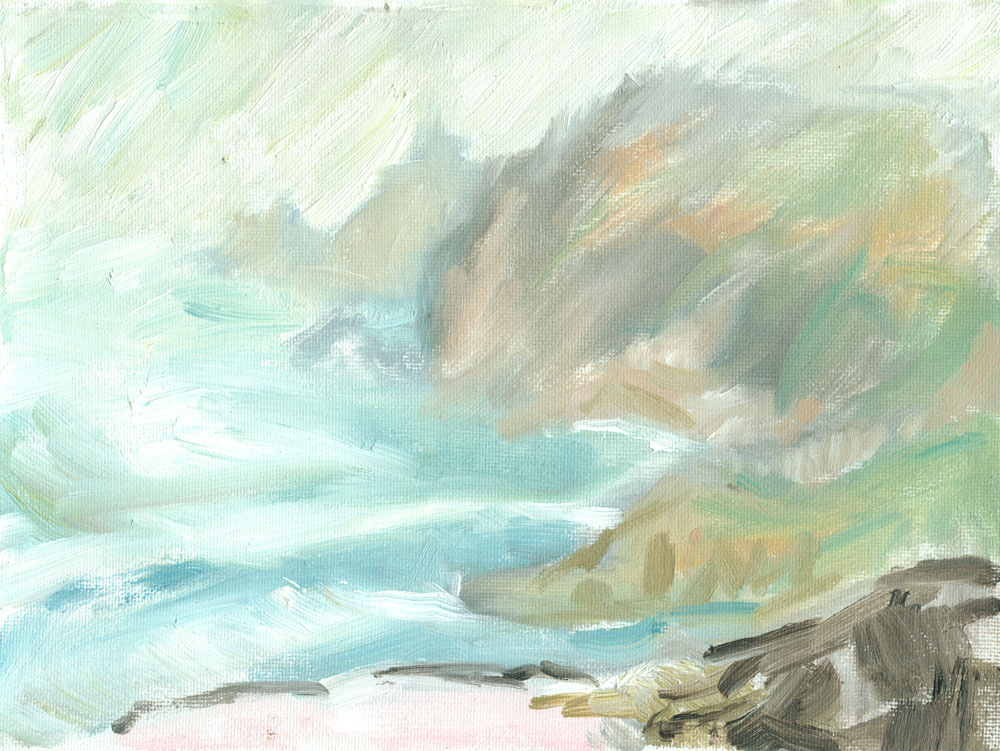 oil on canvas sketch of a view from the Cornish coast path near Cape Cornwall