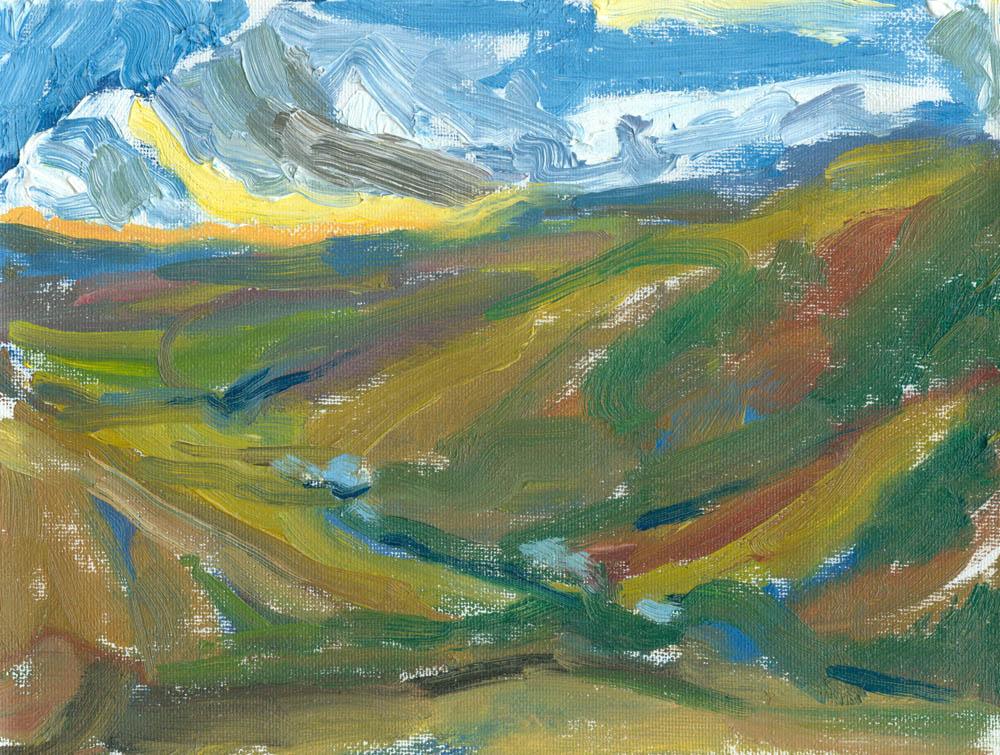 plein air oil painting, setting sun last light over the valley
