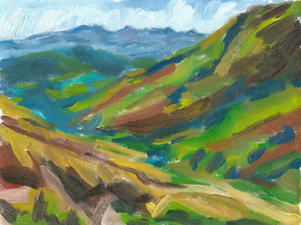 oil painting of evening in the valley of Crosdale, painted en plein air