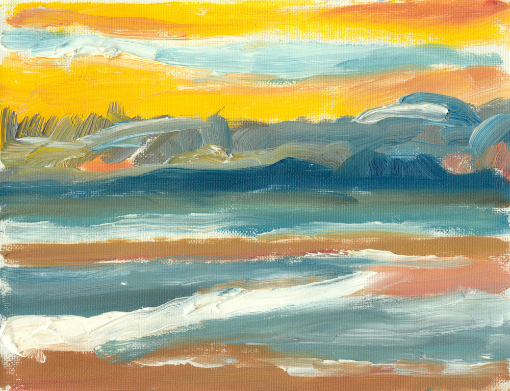 small oil sketch, plein air, of Culzean beach during sunset