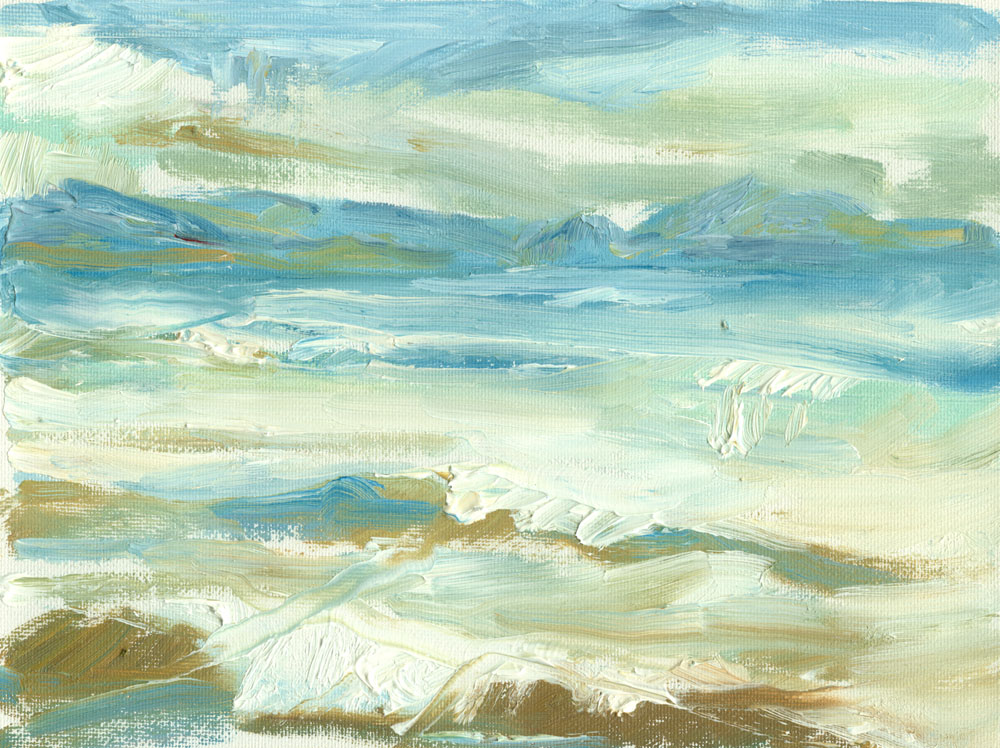 small plein air sketch of the sea at Culzean, oils on canvas, 6x8 inches