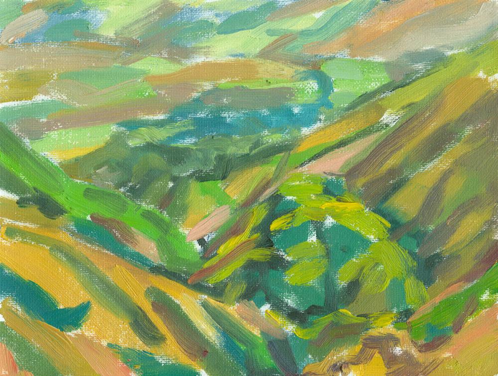 oil on canvas, 6x8, down Settlebeck Gill, plein air