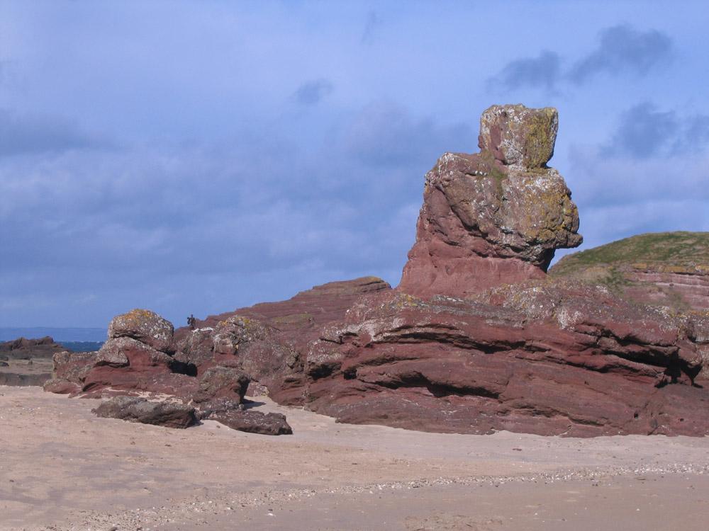 rocks resembling a figure on Seacliff beach