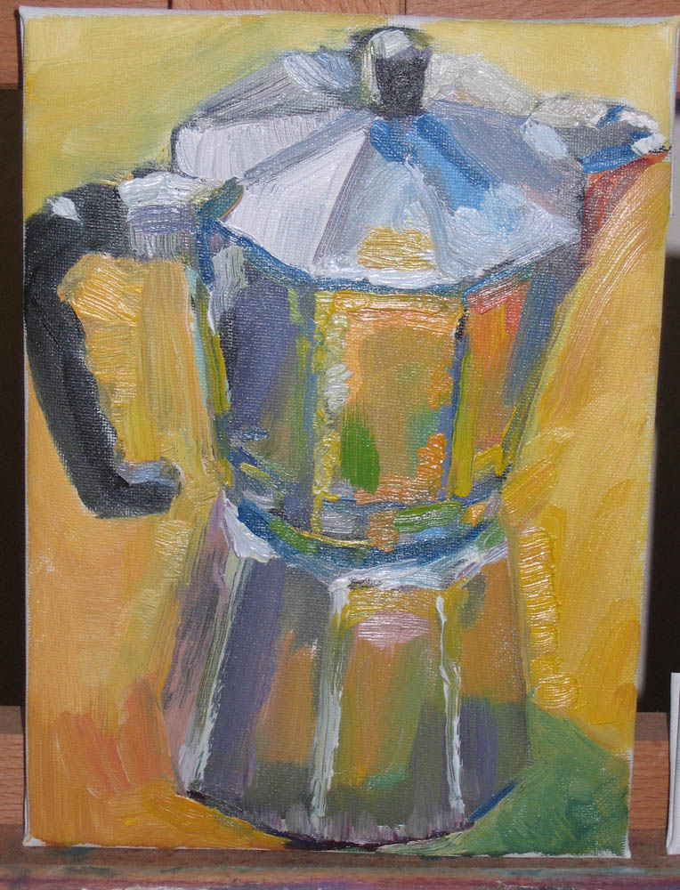 oil painting of foreshortened coffee pot