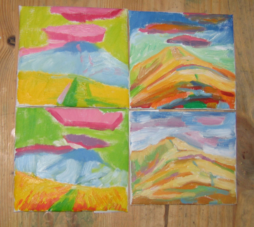 four tiny oil paintings, variations on a theme, path up a hill