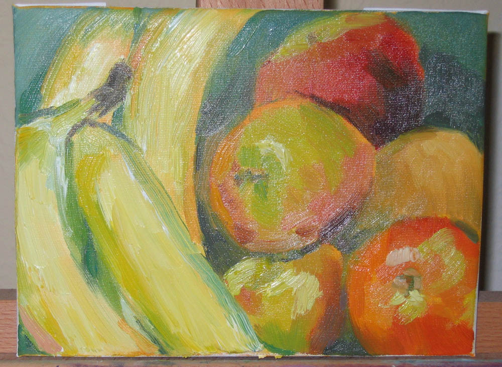 oil painting of fruit, 6x8 canvas