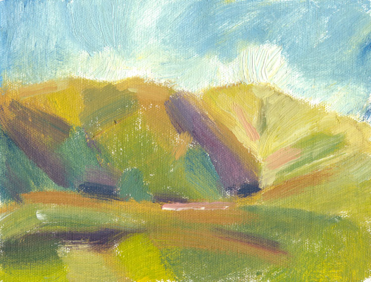 oil sketch of hill shadow