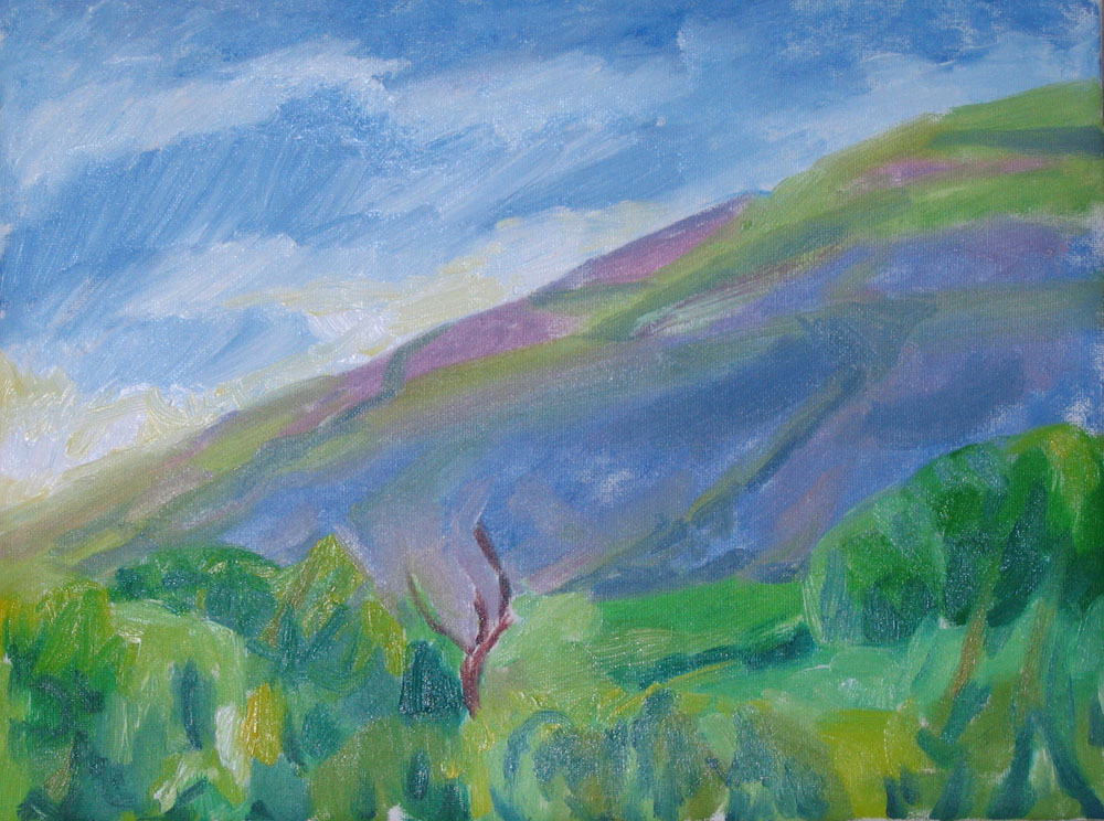 purple evening hues hill painting, oil on canvas, 9x12