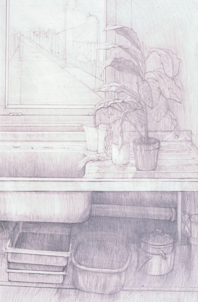 sink pencil drawing, A1