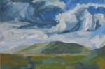 oil painting of hills and clouds, A1