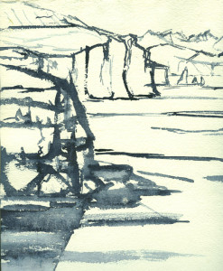 watercolour sketch of cliff walk view