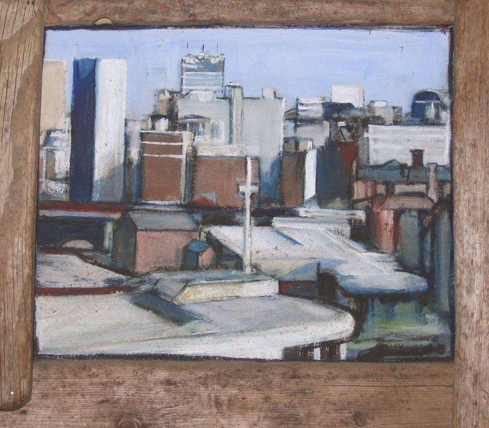 painting of manchester view, oil on card