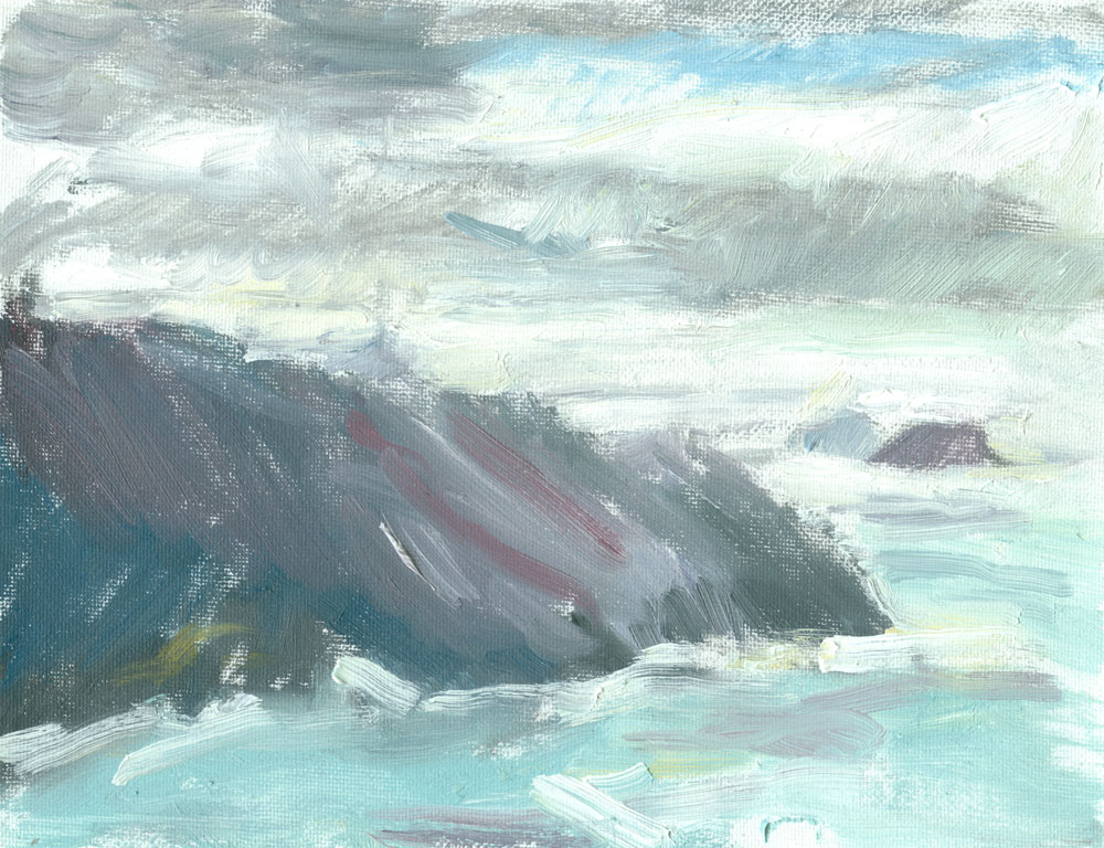 plein air sketch from Cornish cliffs, oil on canvas, 6x8 inches