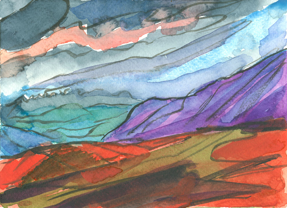 near Winder at night, watercolour sketch from memory