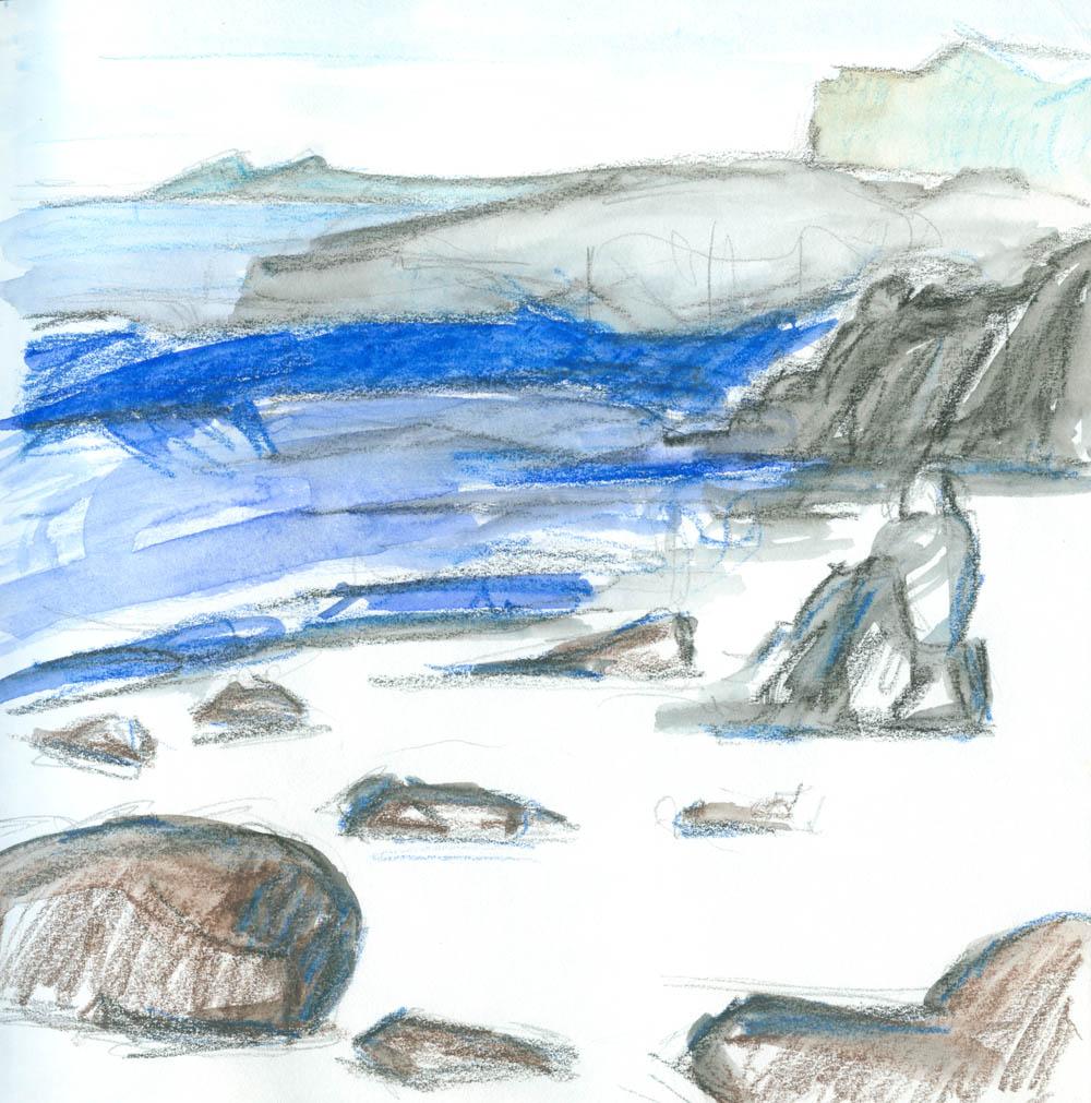 Dibidal beach sketch, mixed media
