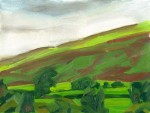 oil painting of red hill