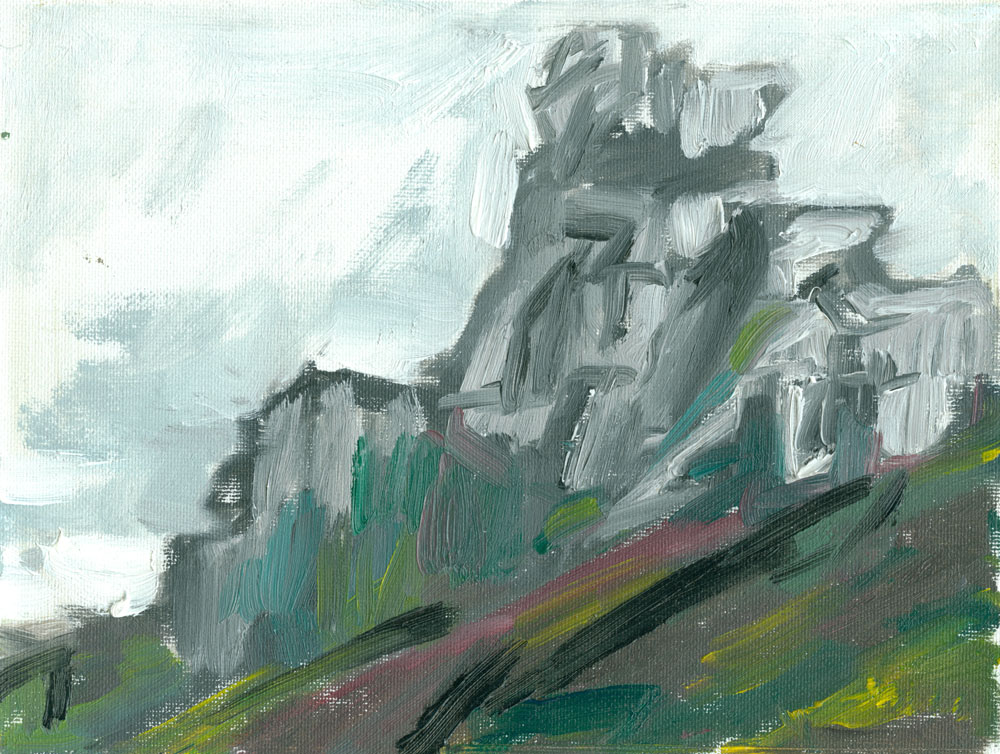 peculiar rock formation, Cornish cliffs on a rainy windswept day, oil study on canvas, 6x8 inches