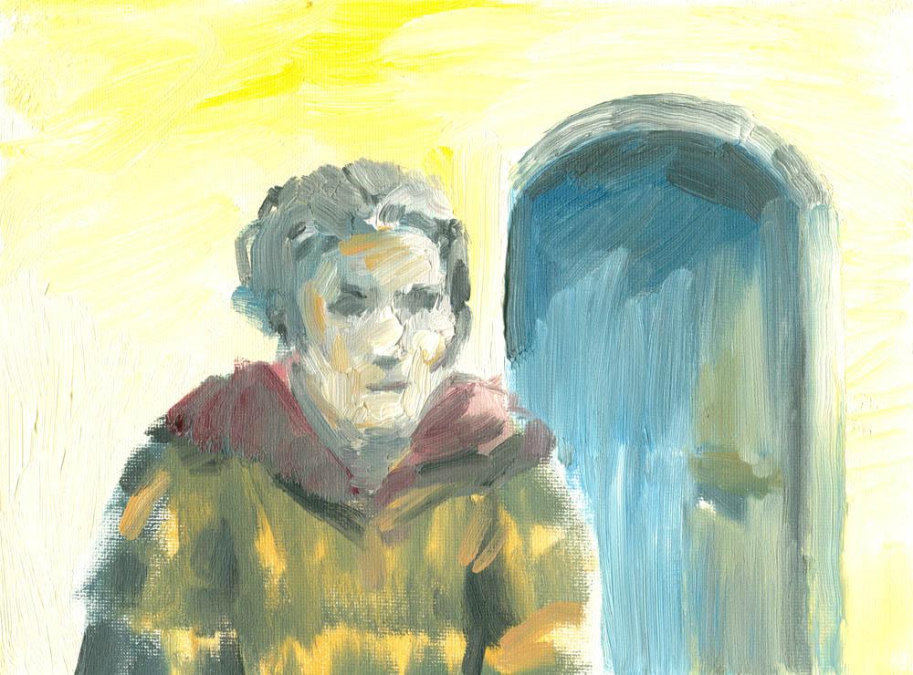 self portrait oil sketch