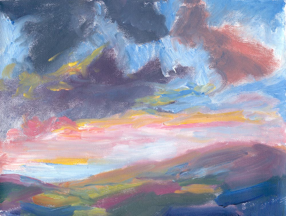 "plein air oil painting of setting sun, 6""x8"""