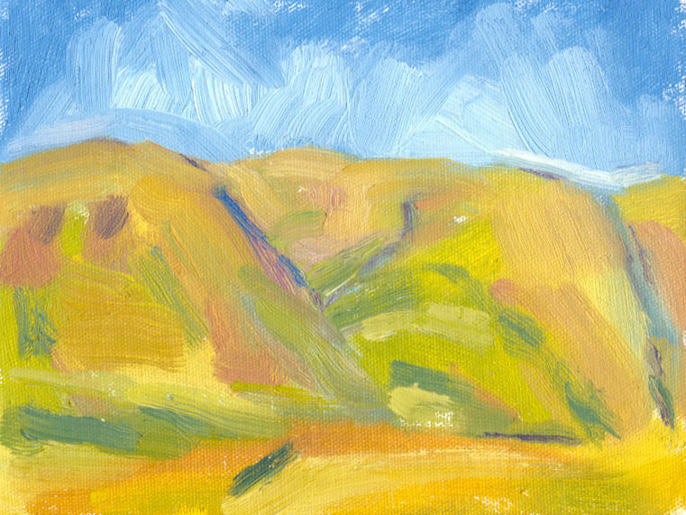 oil sketch shadowless hills