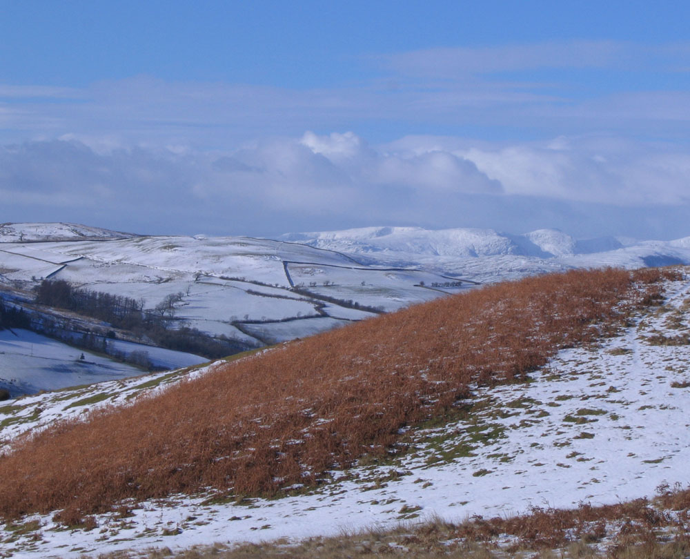 photo showing Howgill Fells and Lakes mountains in the distance