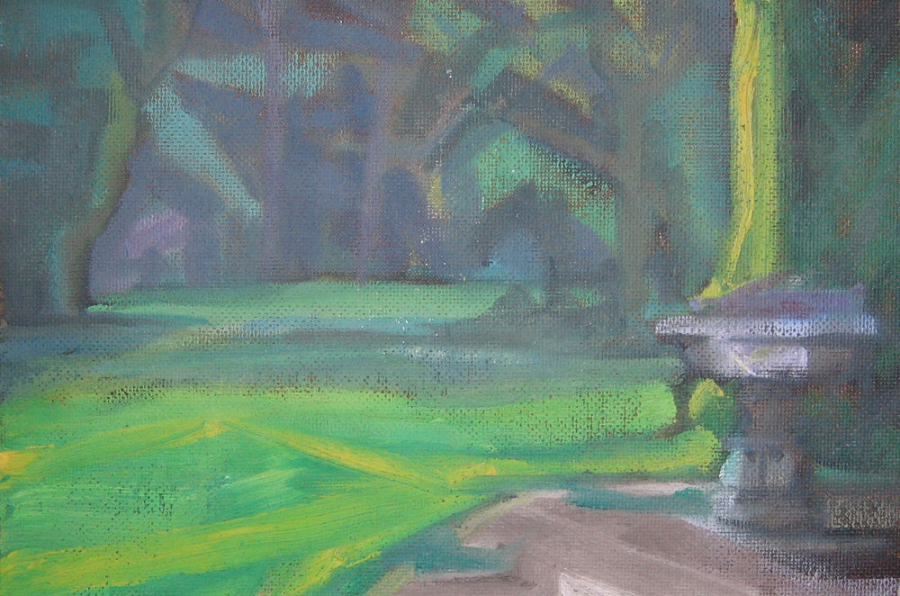 oil on hardboard, painting of trees in a southern garden