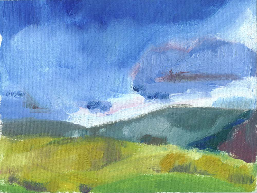 oil painting of stormy fell