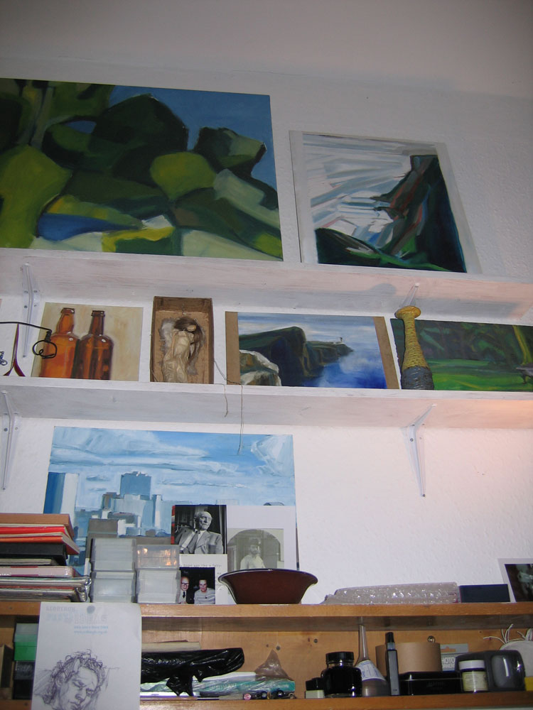 photo of shelves in artist's studio