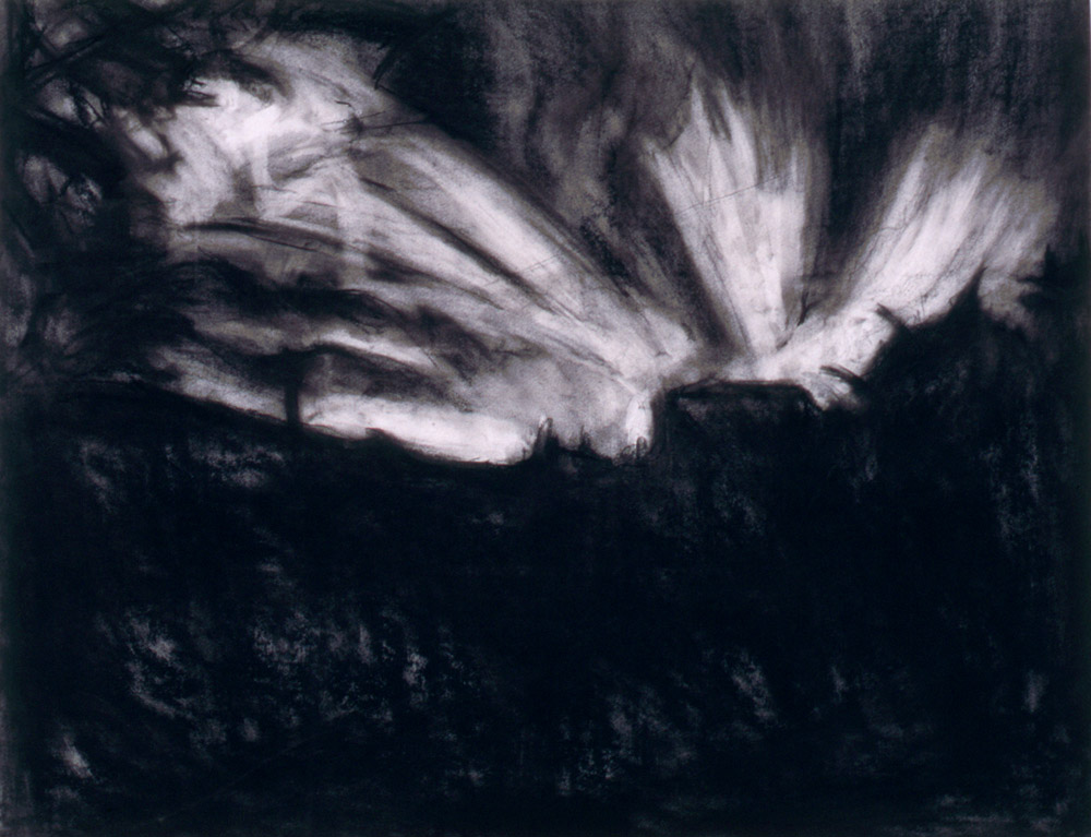charcoal drawing of Holmisdale sunset