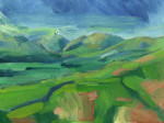 oil painting of Tebay fells in sun