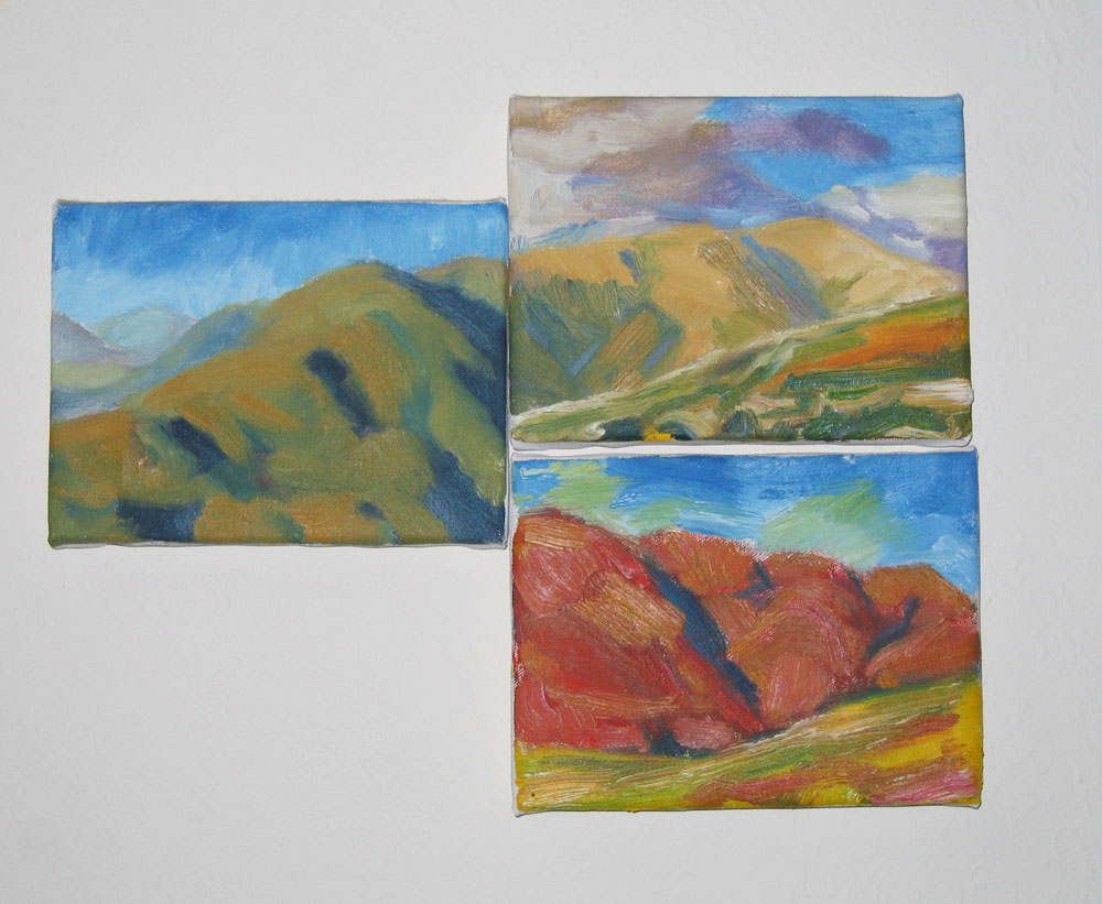 image showing three plein air sketches, 6x8