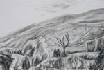 charcoal drawing of hill and tree