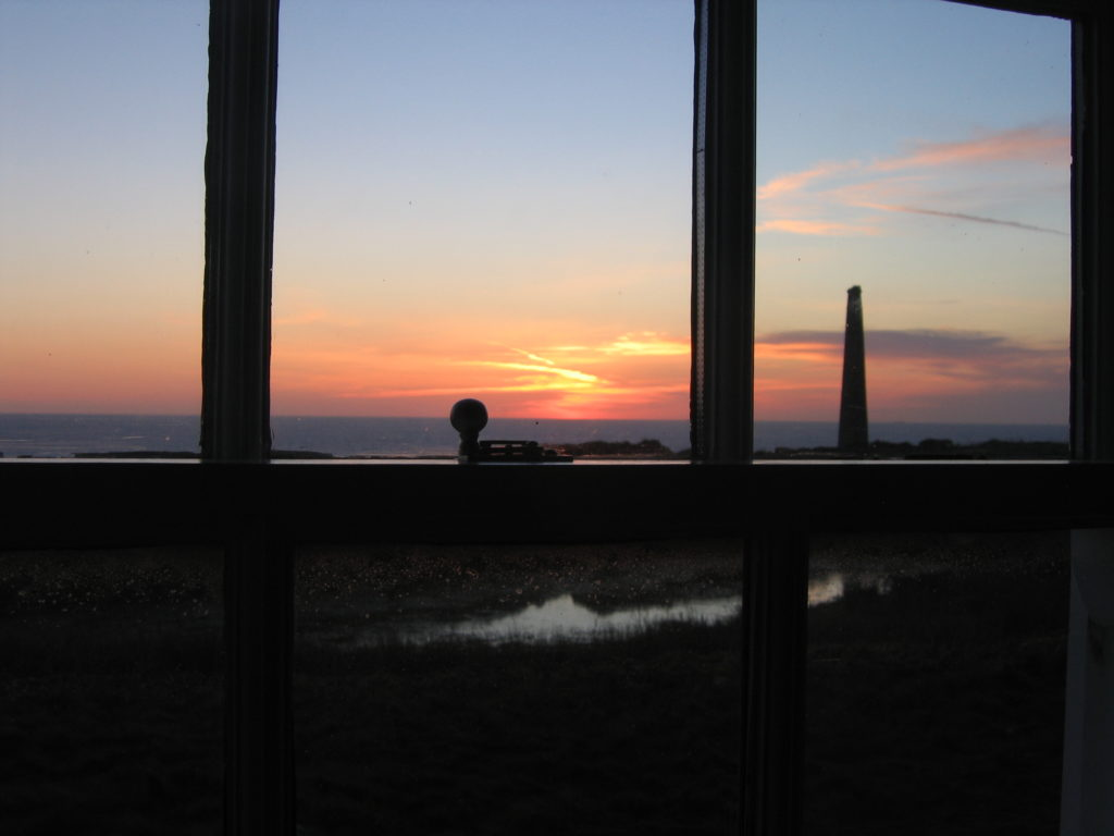 evening sunset view from a cottage on the cliffs, Cornwall
