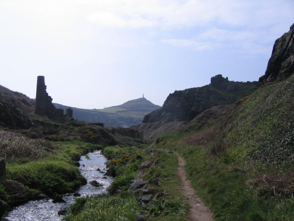 photo of Kenidjack valley with Cape Cornwall in the distance