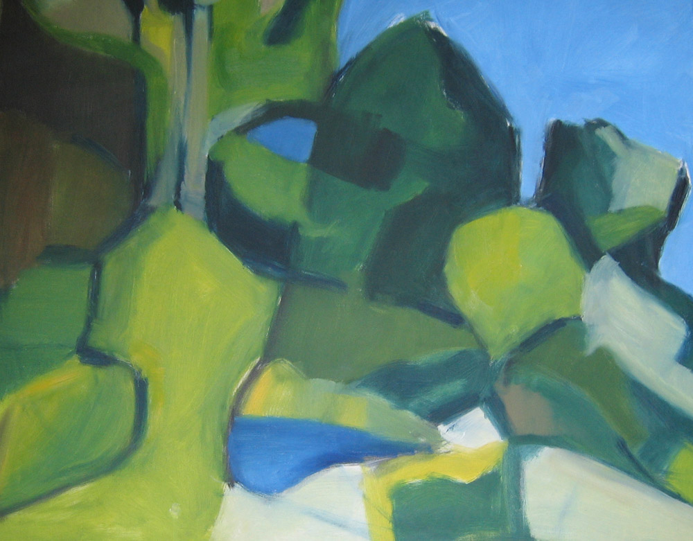 large painting in oils of trees in mother's garden