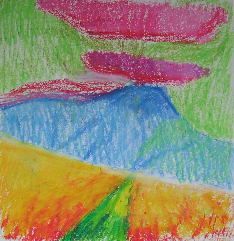 plein air oil pastel of hill