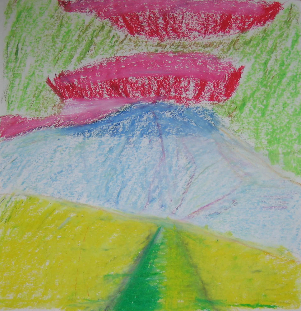 oil pastel sketch of Arant Haw path