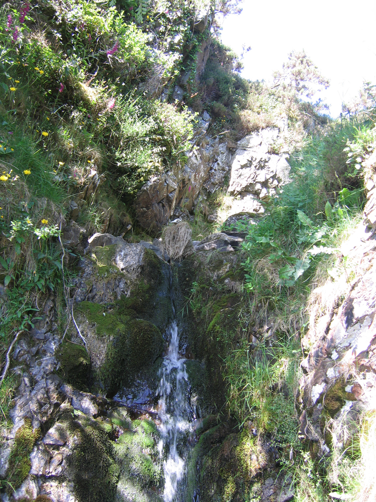 photo of a river daemon sitting above a waterfall, an assembled form made out of natural materials in the environment