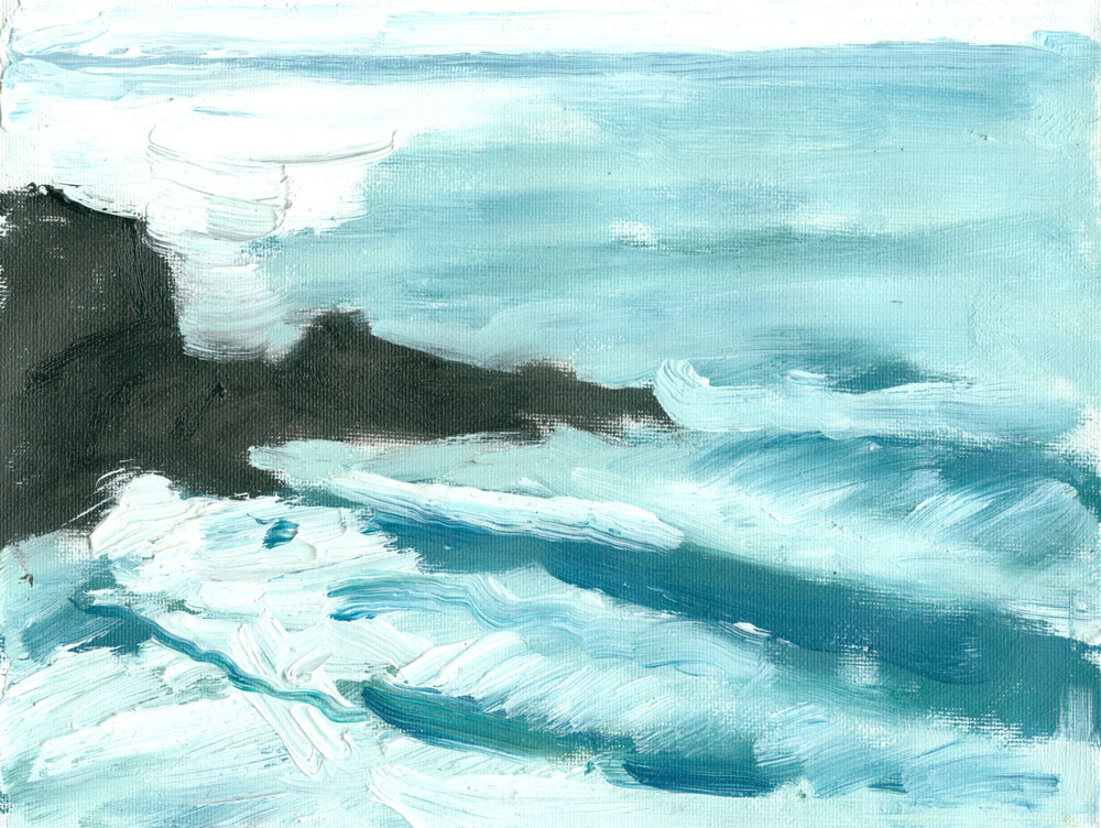 oil study of Cape Cornwall waves, small 6x8 inches canvas