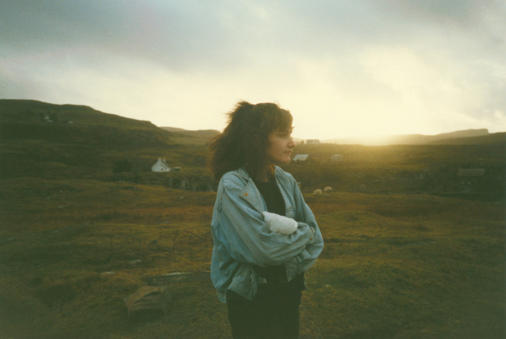 My sister Clare in the 80s, staring out to sea on the Isle of Skye