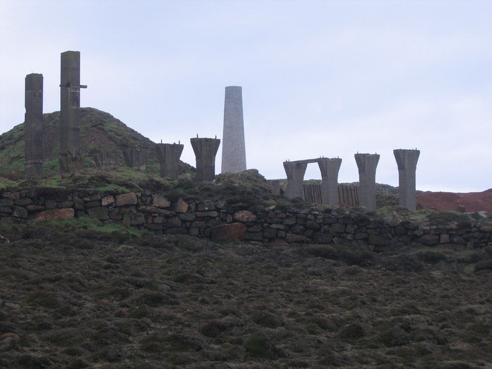 sculptural mining ruins in Cornwall